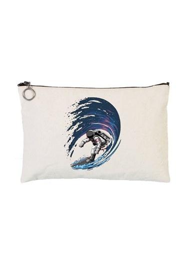 Art T-Shirt Art Tshirt Artrnd02330 Astronaut Surfing Astarlı 30 X 21 Cm Bez Tablet Ve Makyaj Çantası Renkli Renkli